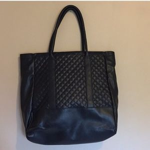 Mango black faux leather tote bag